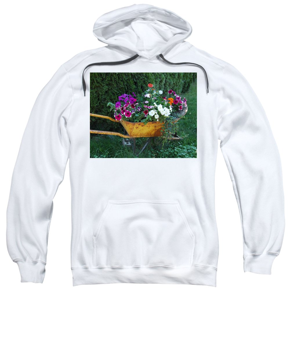 Green Sweatshirt featuring the photograph Wheelbarrow Beauty by Sheryl R Smith