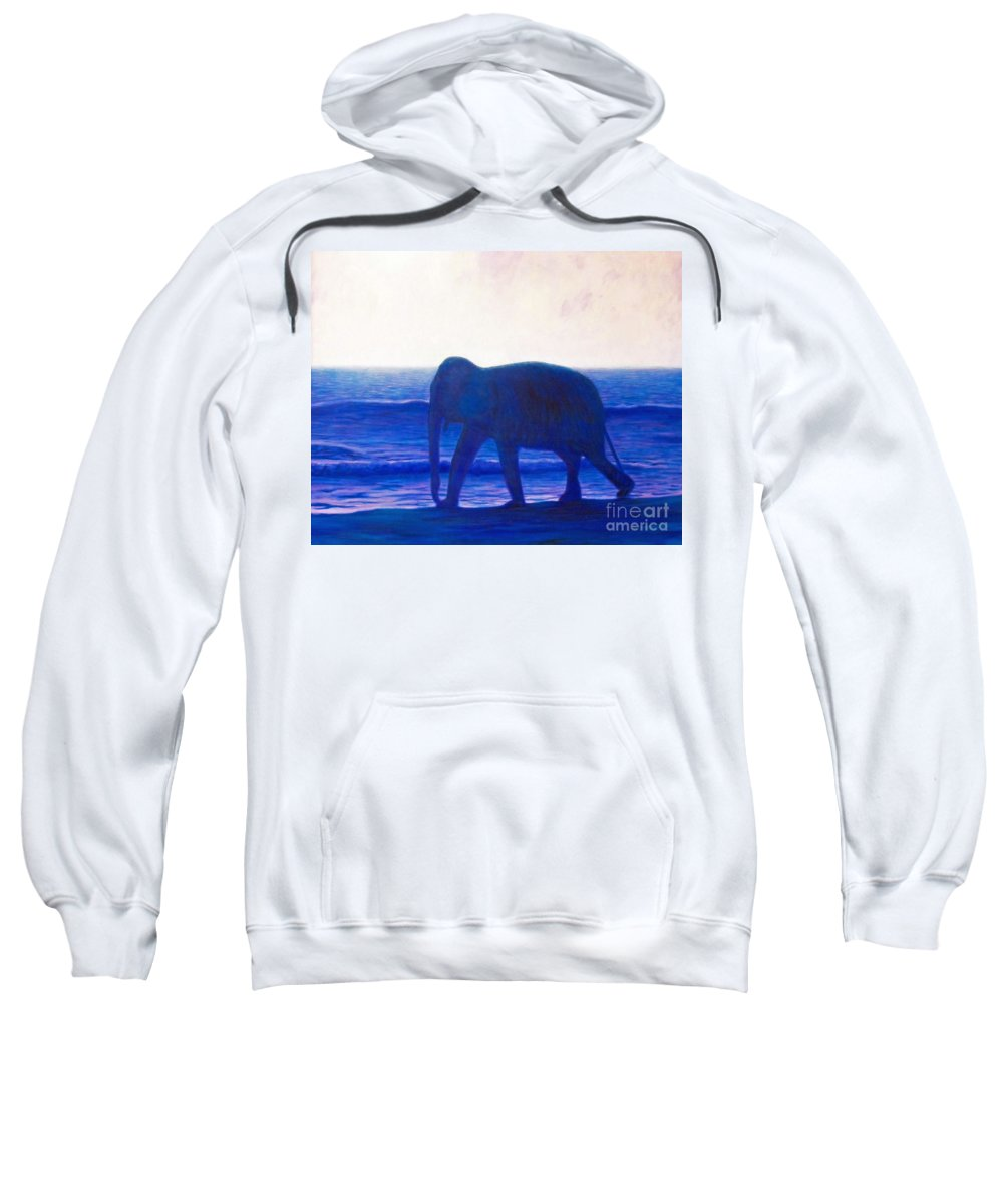 Elephant Sweatshirt featuring the painting When I Was Young by Brian Commerford