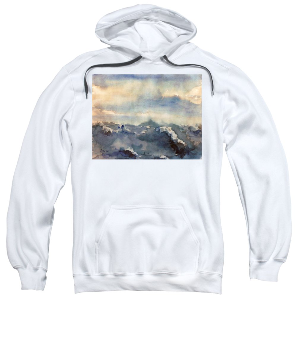 Seascape Sweatshirt featuring the painting Where Sky Meets Ocean by Steve Karol