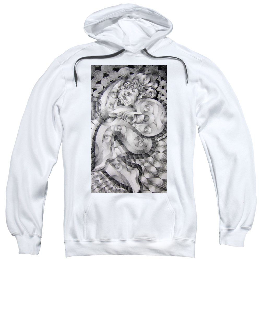 Art Sweatshirt featuring the drawing Whim by Myron Belfast
