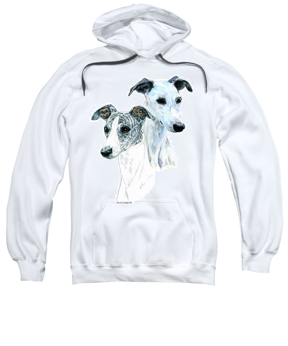 Whippet Sweatshirt featuring the painting Whippet Pair by Kathleen Sepulveda