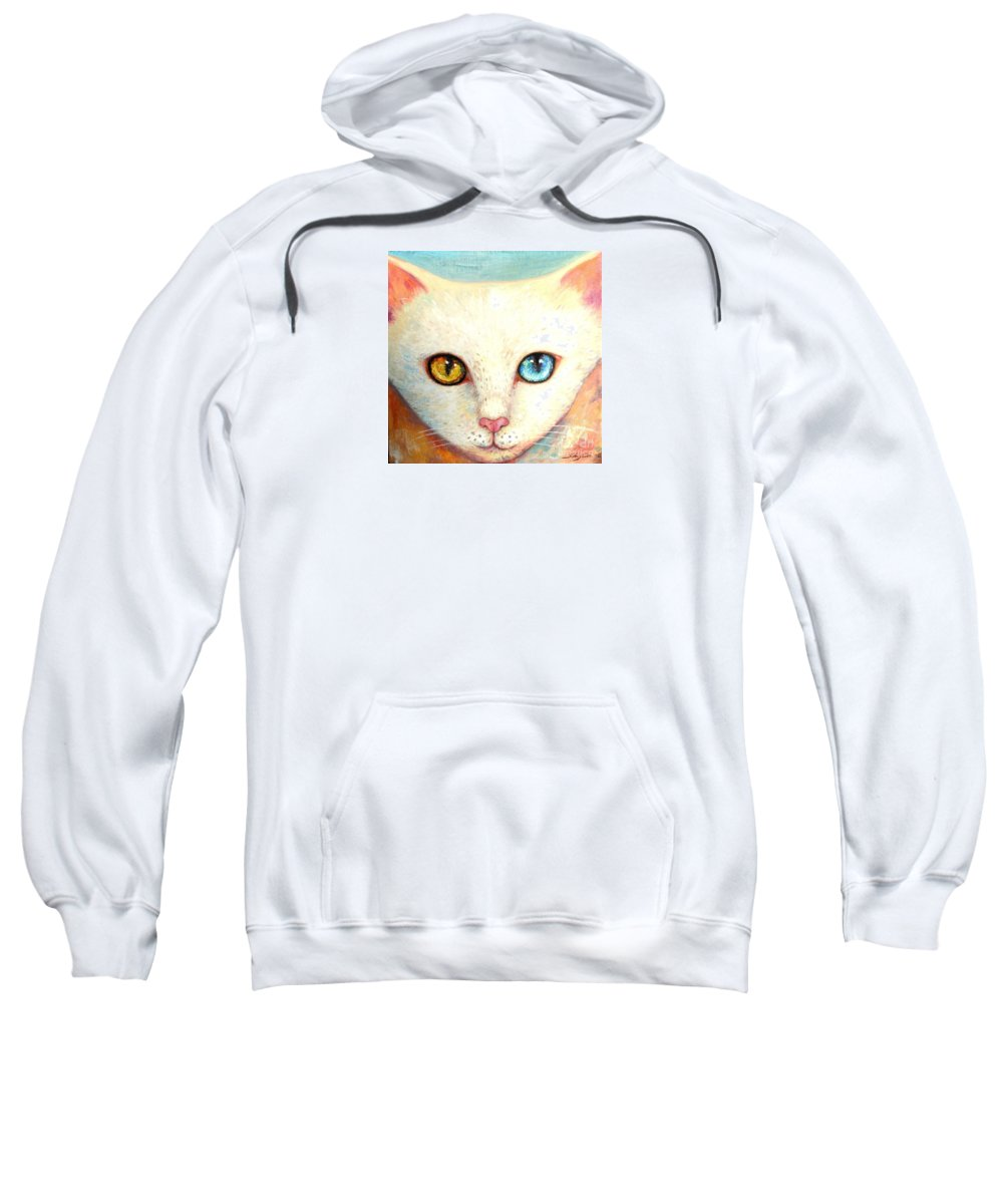 Portrait Sweatshirt featuring the painting White Cat by Shijun Munns