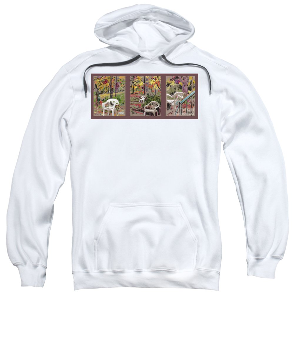 Pastel Sweatshirt featuring the drawing White Chairs And Birdhouses 1 by Donald Maier