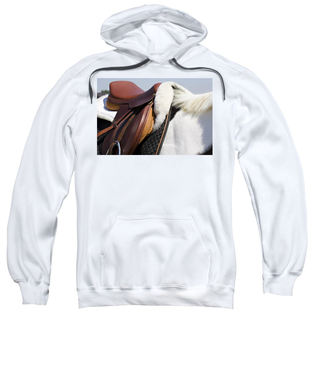 Horse Sweatshirt featuring the photograph White Horse And Saddle by Marilyn Hunt