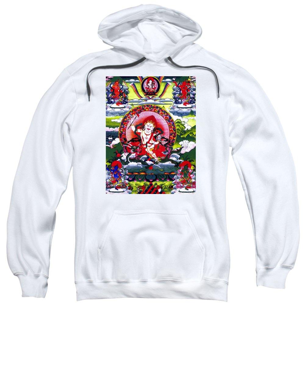 White God Of Wealth Sweatshirt featuring the photograph White Jambhala 3 by Jeelan Clark