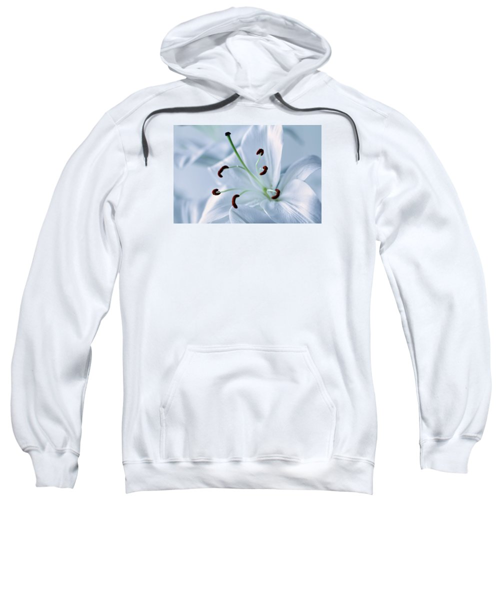 Beautiful Sweatshirt featuring the photograph White Lily Triptych Part2 by Christophe Fruyt