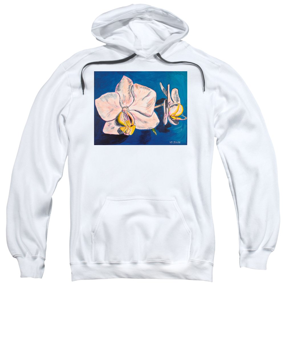 Flower Sweatshirt featuring the painting White Phalaenopsis Orchids by Valerie Ornstein