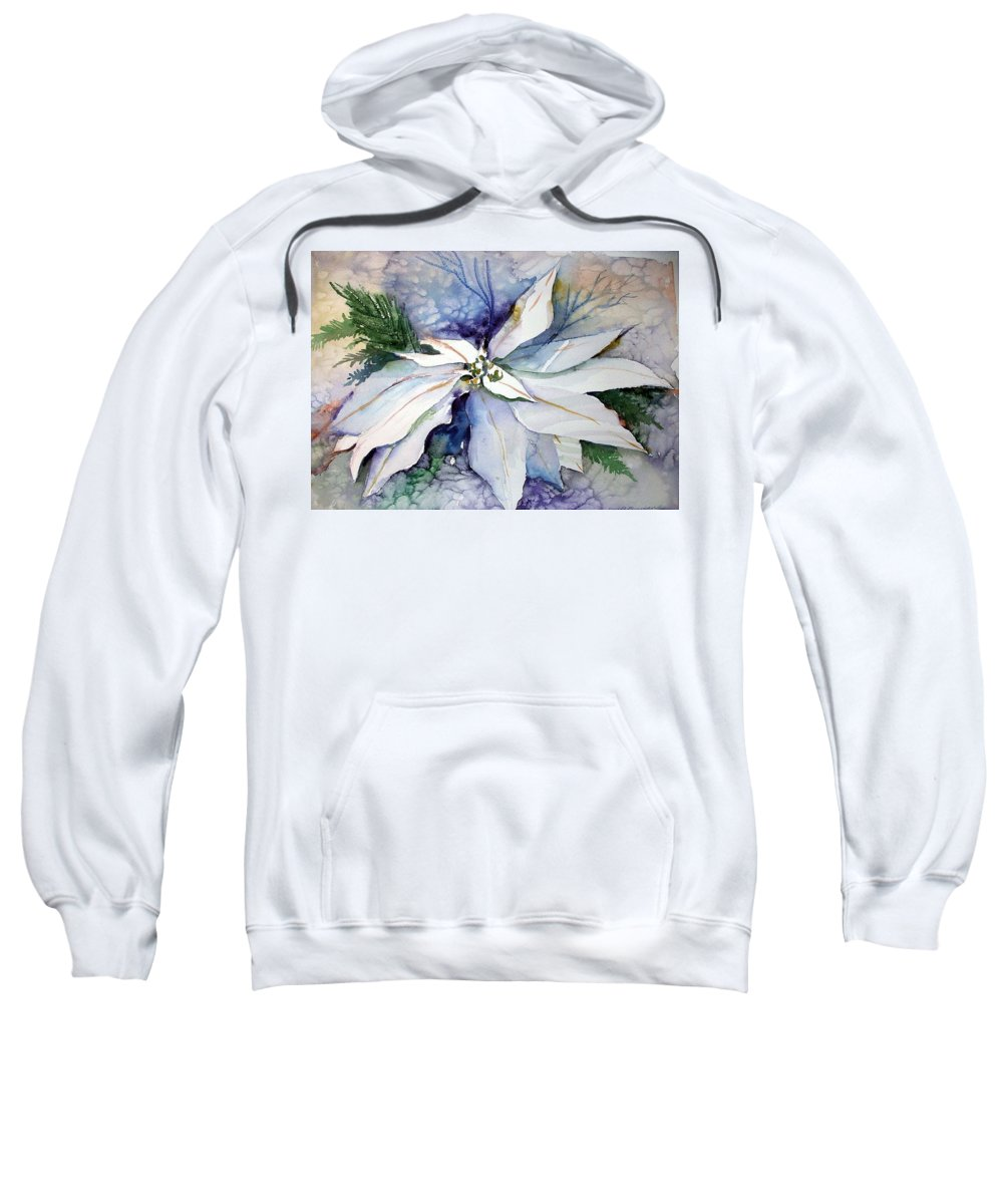 Floral Sweatshirt featuring the painting White Poinsettia by Mindy Newman