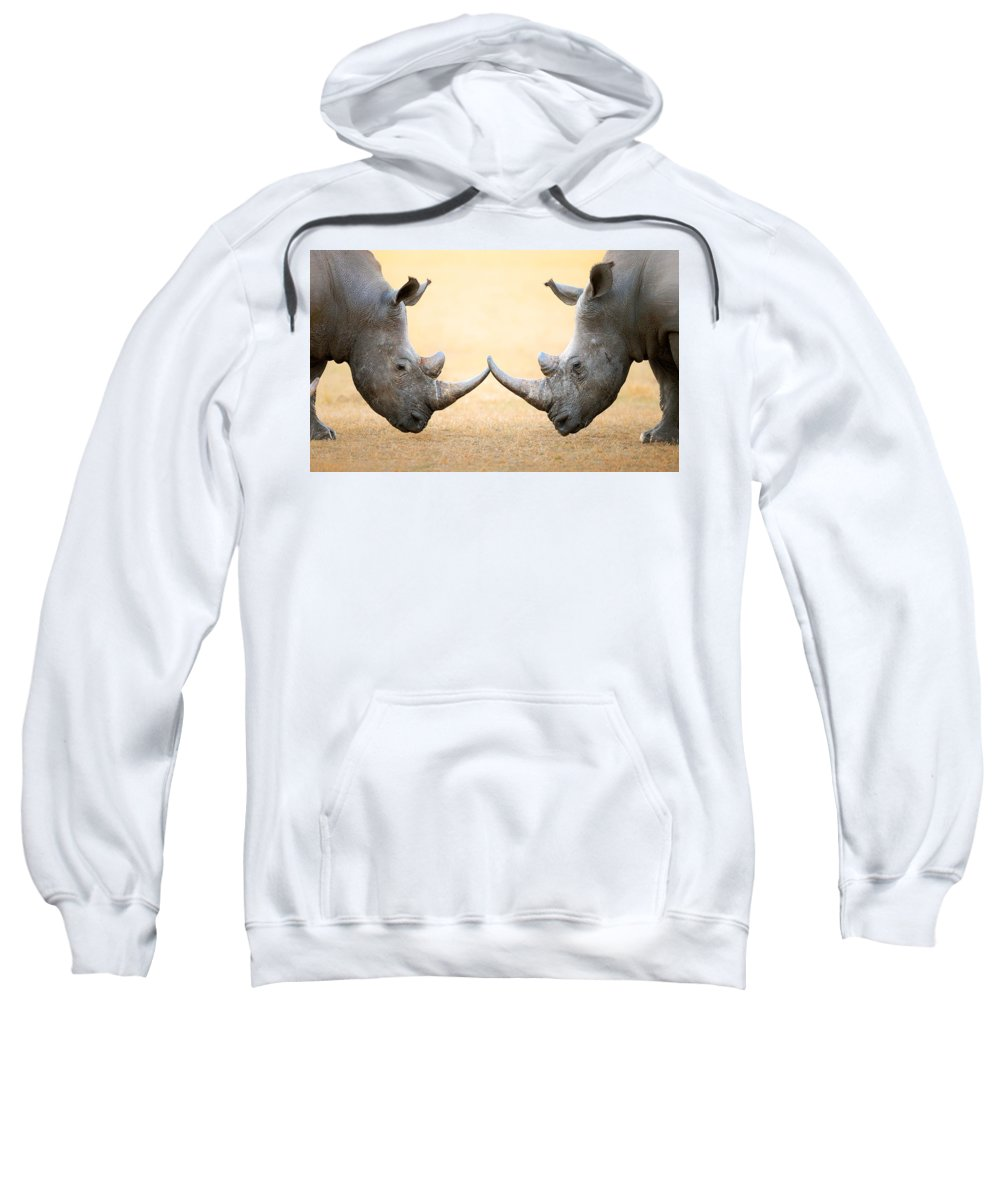 Rhinoceros Sweatshirt featuring the photograph White Rhinoceros Head To Head by Johan Swanepoel
