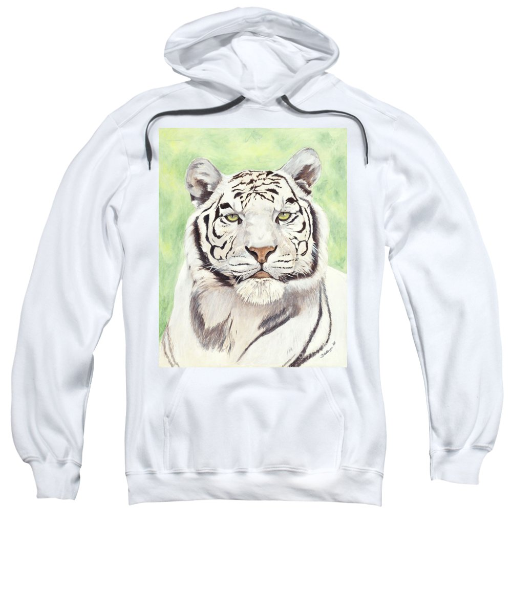 Tiger Sweatshirt featuring the painting White Silence by Shawn Stallings
