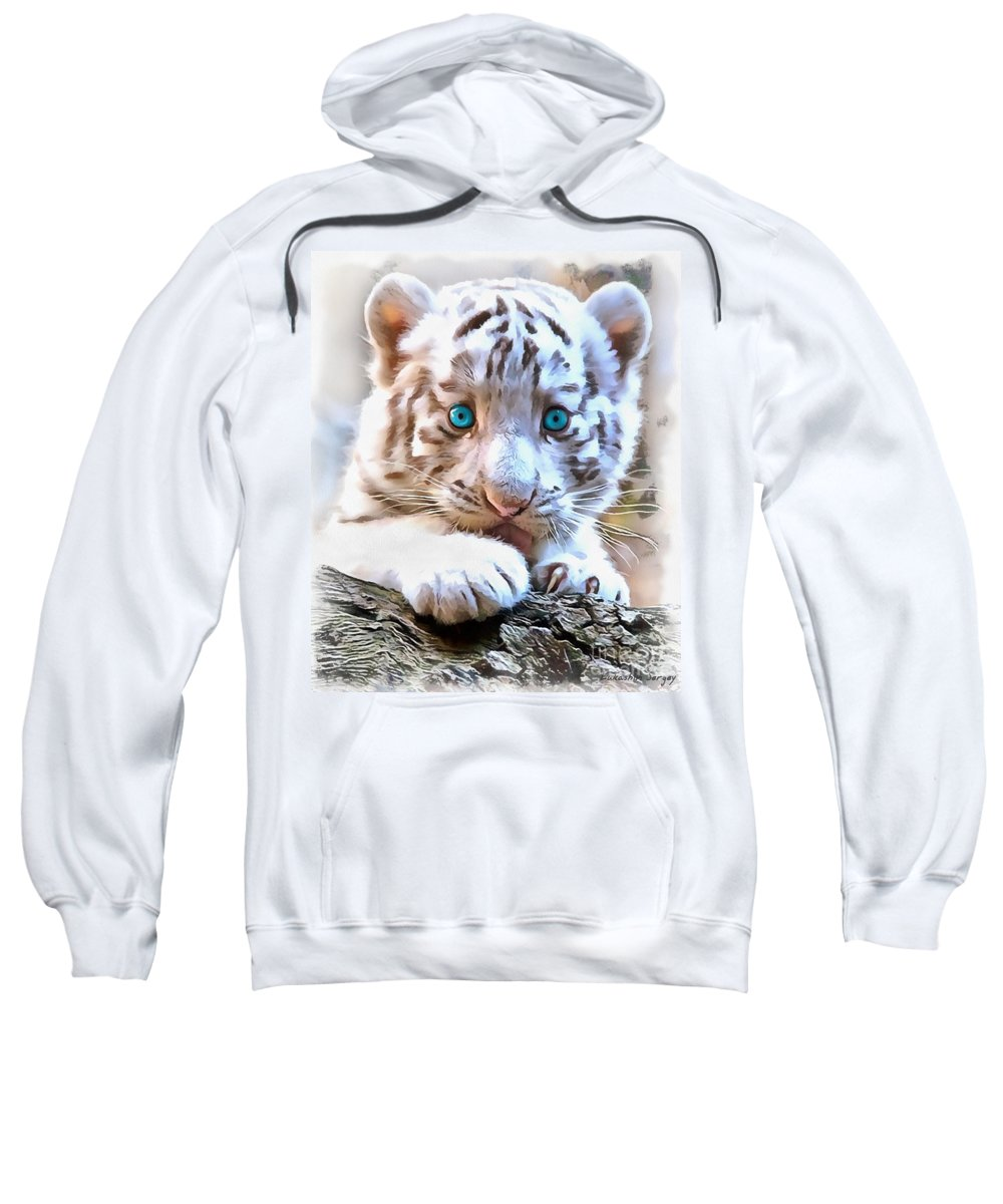 White Tiger Cub Sweatshirt featuring the painting White Tiger Cub by Sergey Lukashin