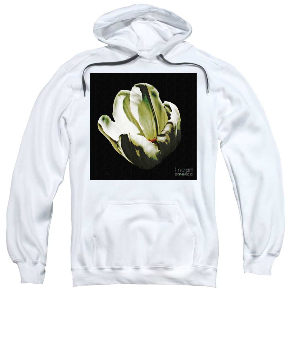 Tulip Sweatshirt featuring the photograph White Tulip by Sarah Loft