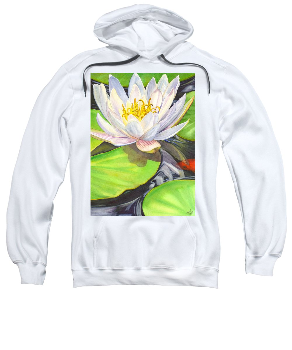 Lily Sweatshirt featuring the painting White Water Lily by Catherine G McElroy