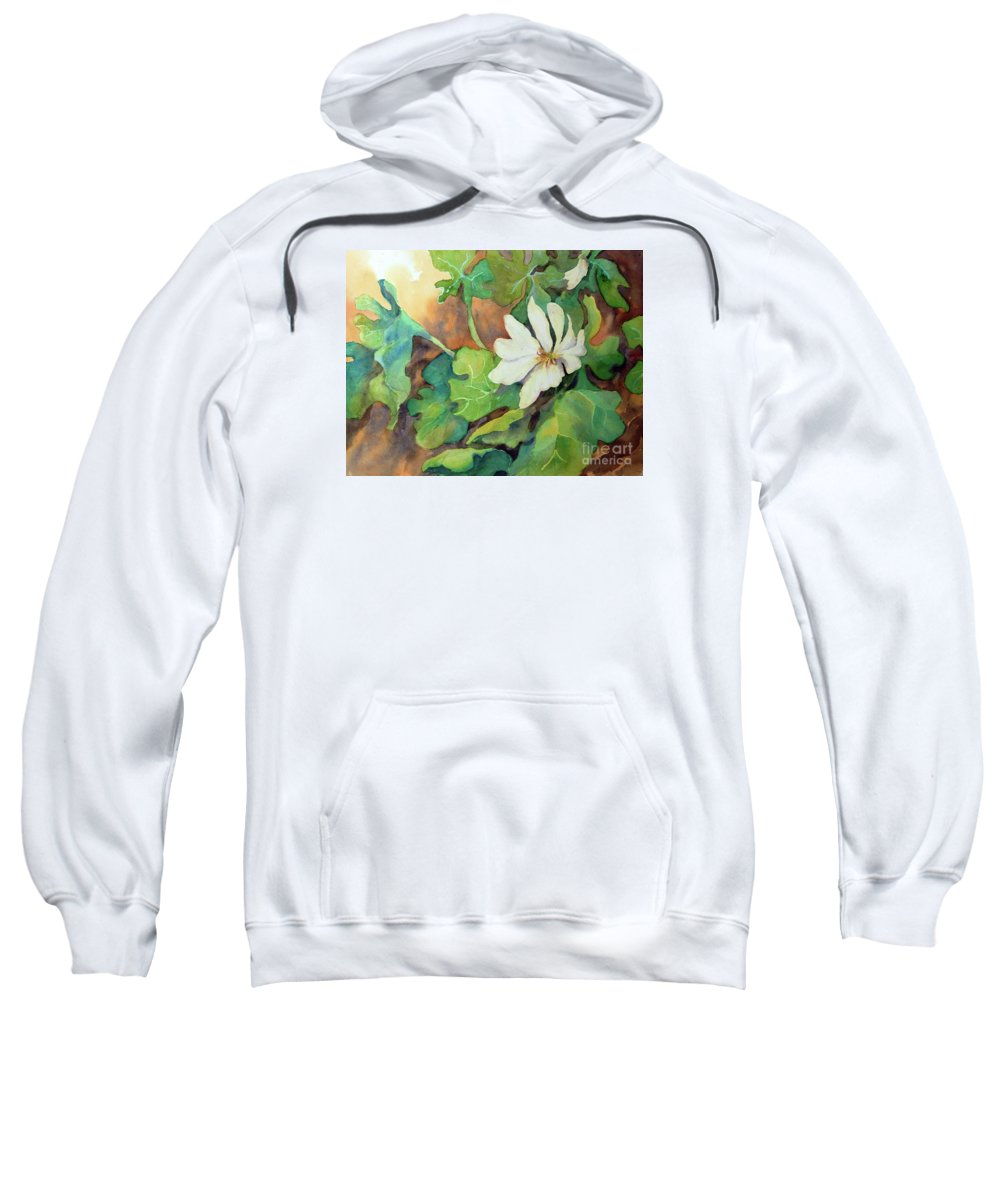 Contemporary Art Sweatshirt featuring the painting White Woodland Flower by Sharon Nelson-Bianco