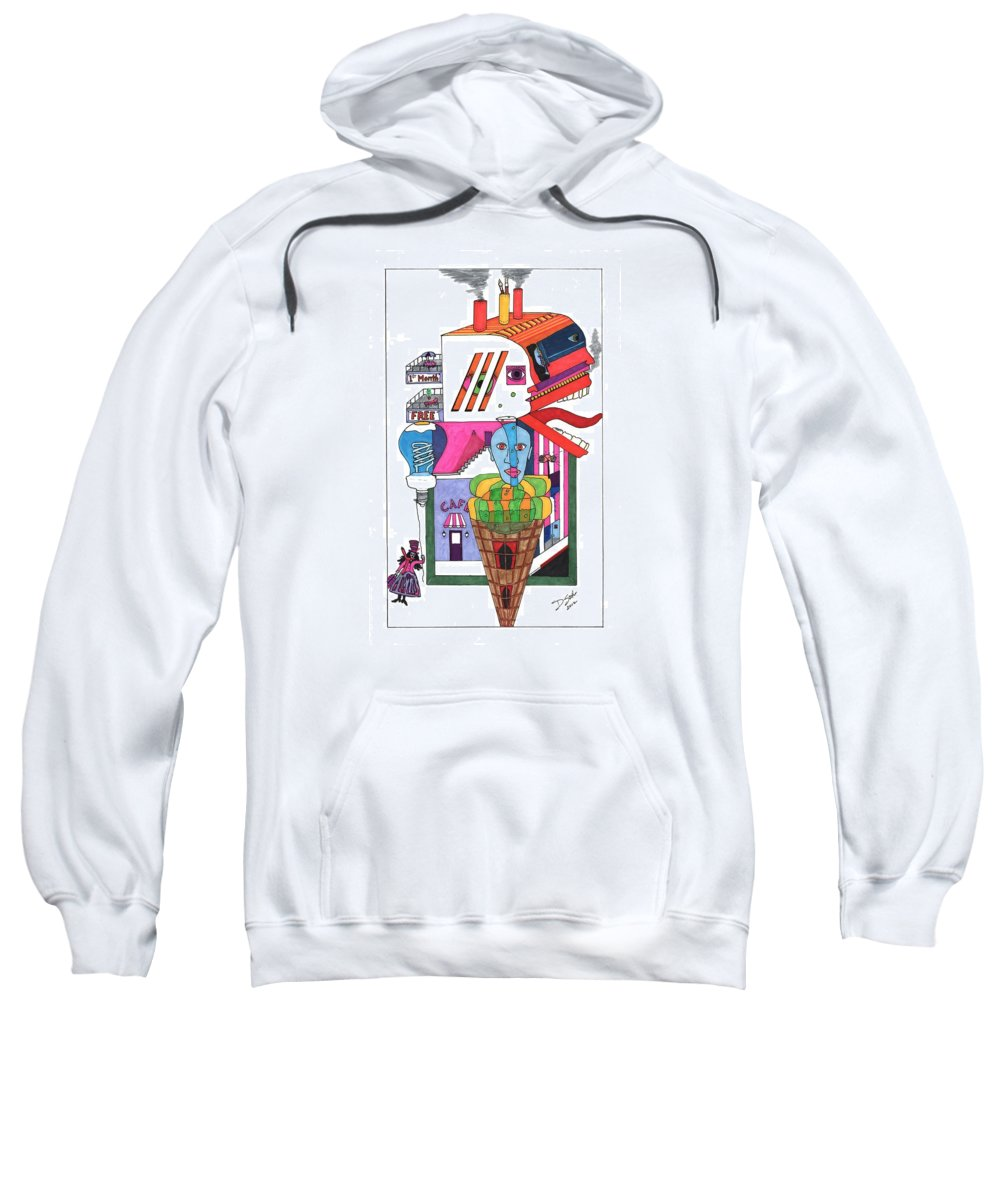 Abstract Sweatshirt featuring the drawing Who's Neighborhood by David Sutter