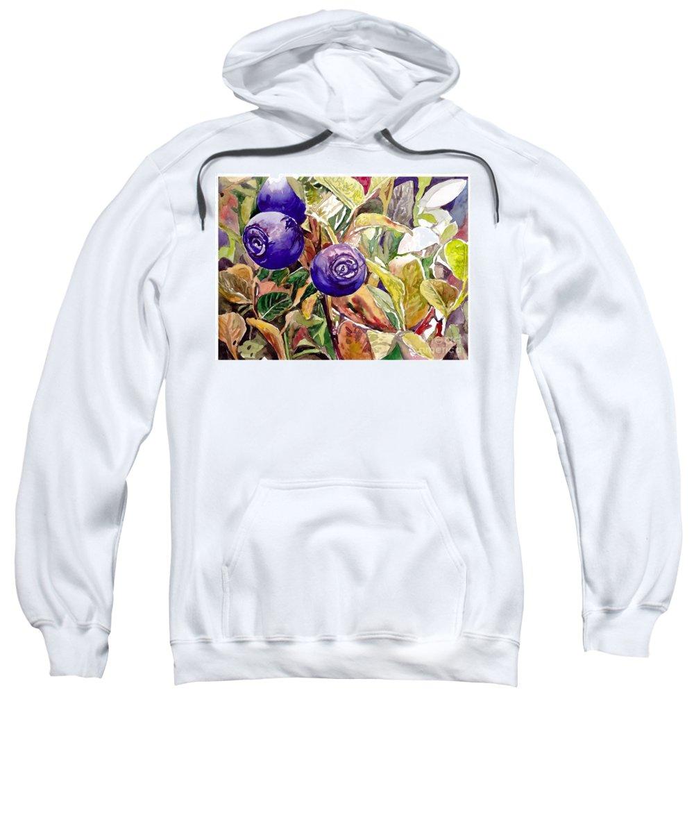 Wild Blueberries Sweatshirt featuring the painting Wild Blueberries by Suzann Sines