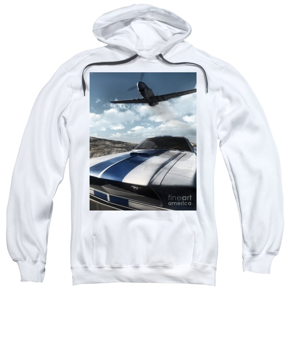 Racing Sweatshirt featuring the digital art Wild Horses by Richard Rizzo