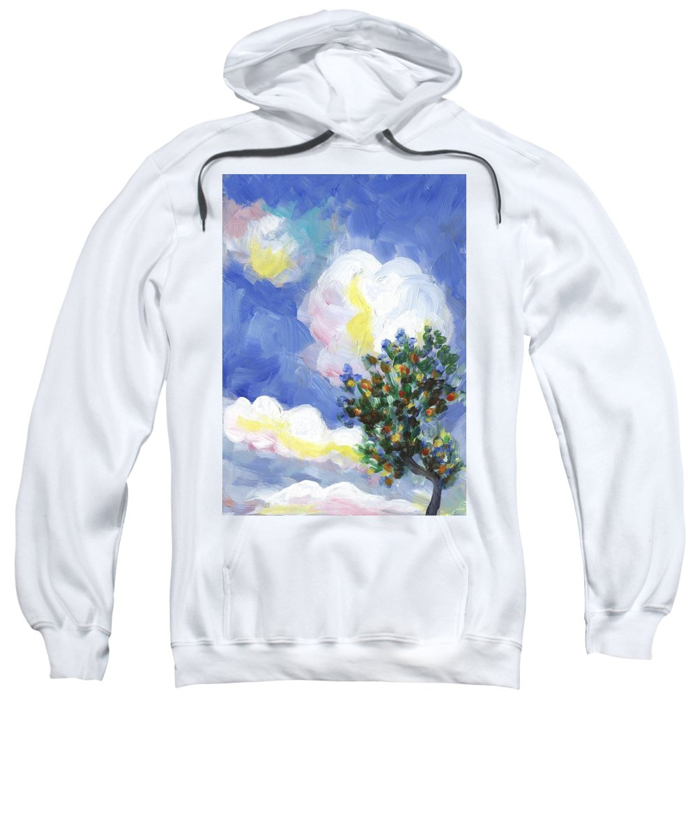Vineyard Sweatshirt featuring the painting Wild Vineyard Quadriptych Part One by Linda Mears