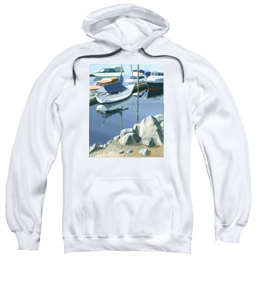 Sailboat Sweatshirt featuring the painting Wildflowers On The Breakwater by Gary Giacomelli