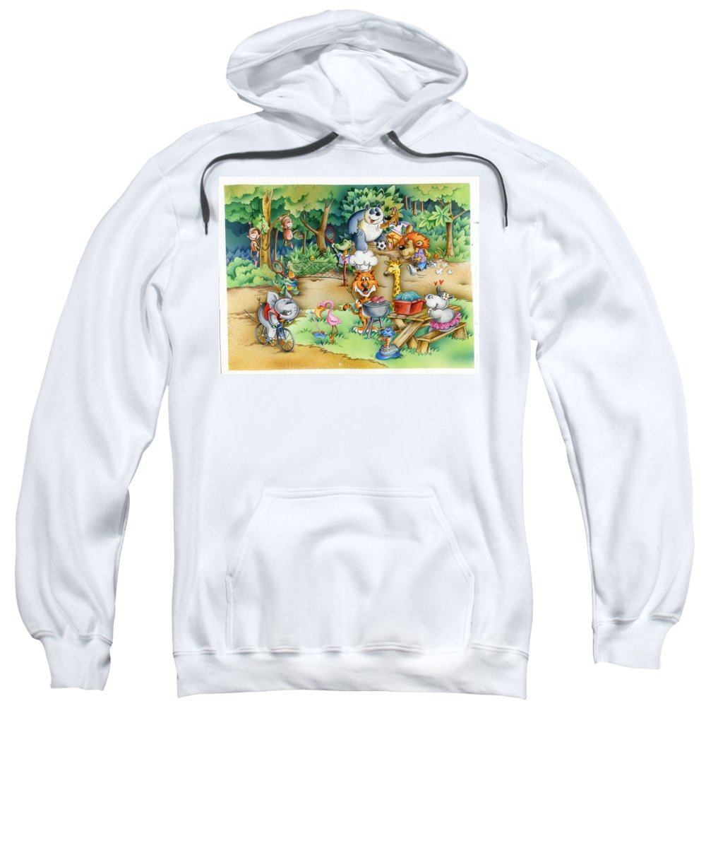 Wildlife Sweatshirt featuring the mixed media Wildlife Party by Patrick Hoenderkamp