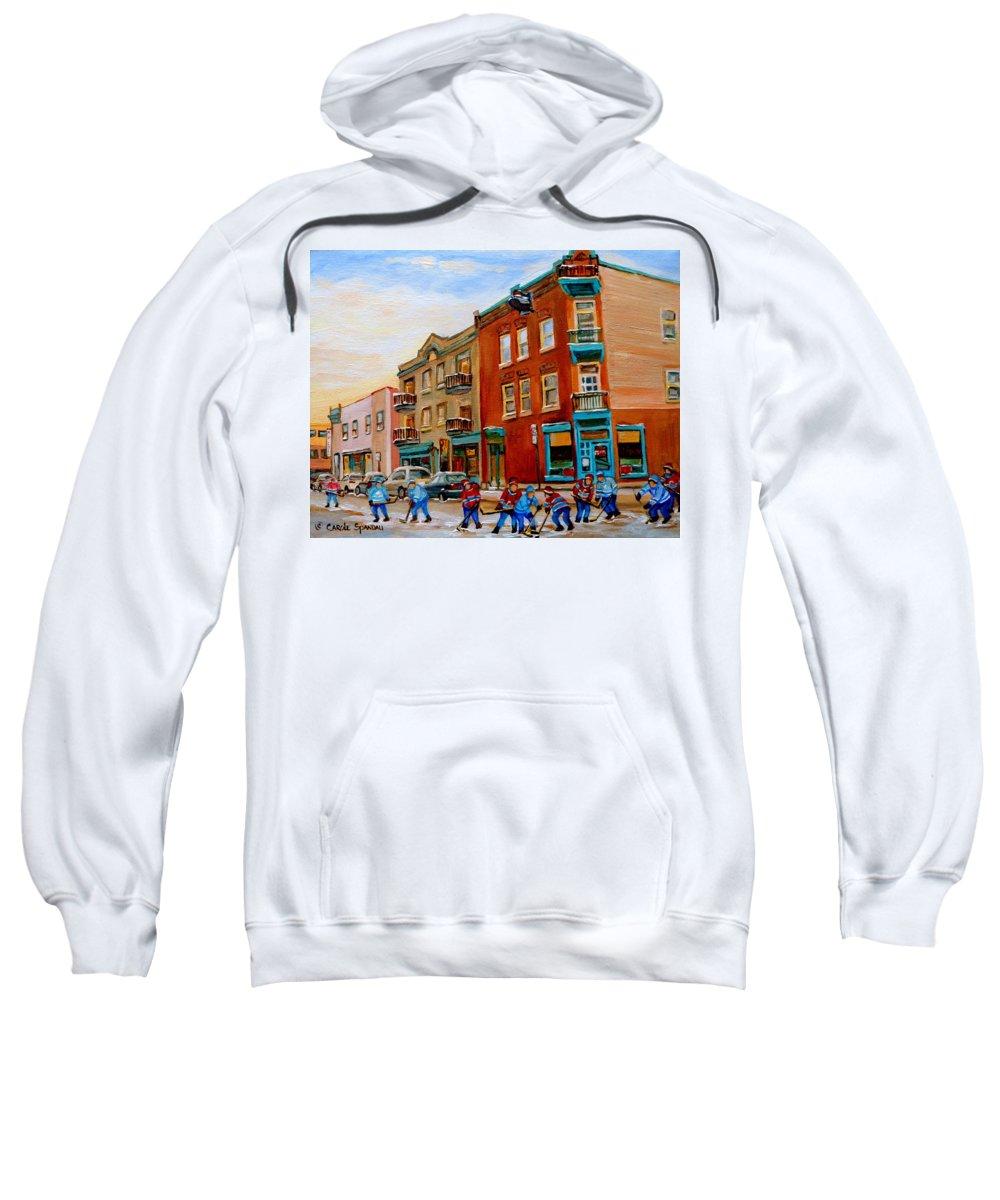 Wilenskys Deli Sweatshirt featuring the painting Wilensky's Street Hockey Game by Carole Spandau