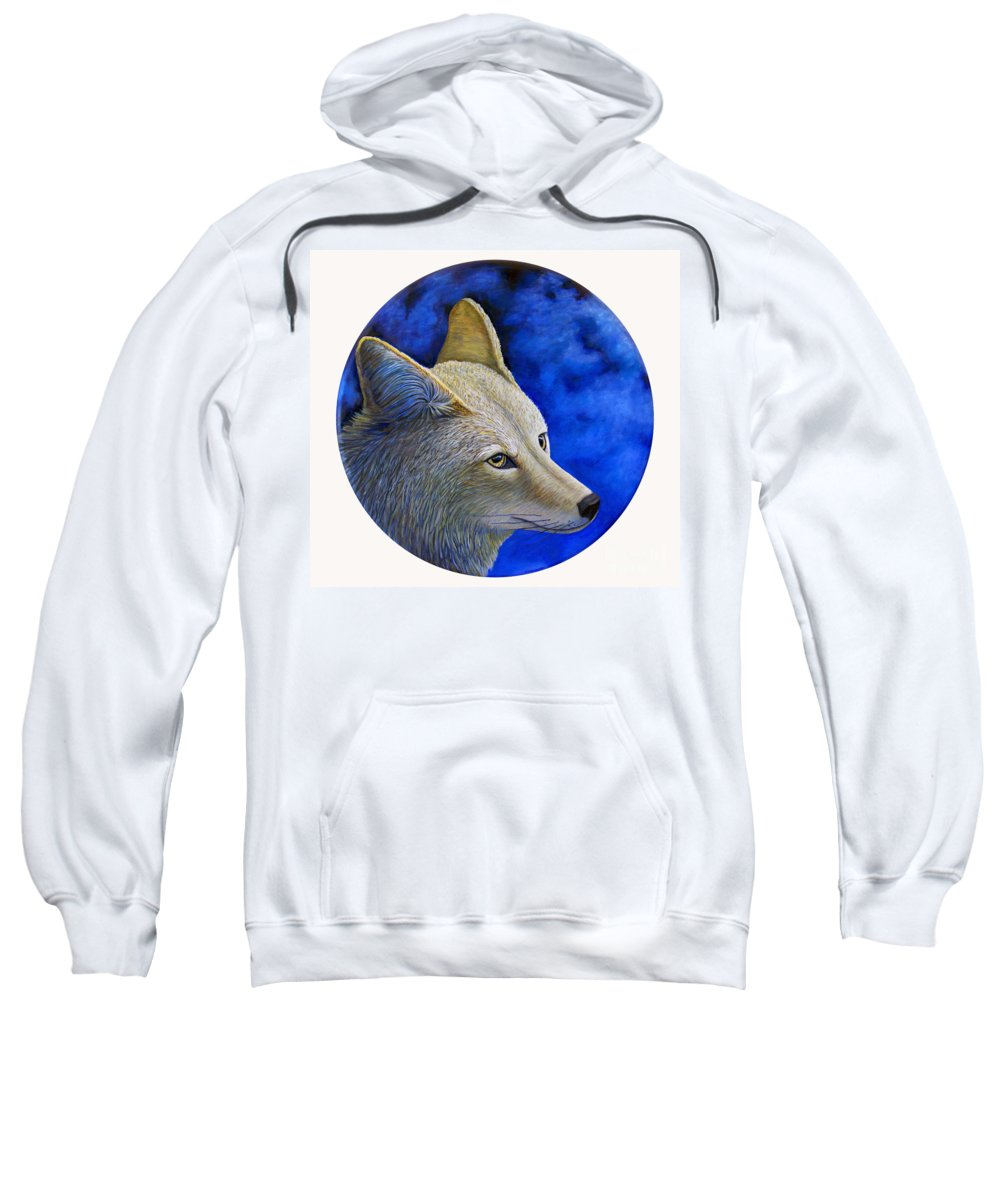 Coyote Sweatshirt featuring the painting Wiley Coyote by Brian Commerford