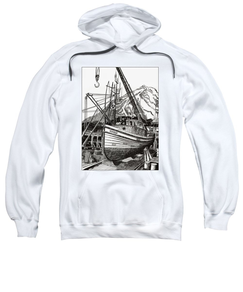 Nautical Shipyard Fishing Boats Sweatshirt featuring the drawing Will Fish Again Another Day by Jack Pumphrey