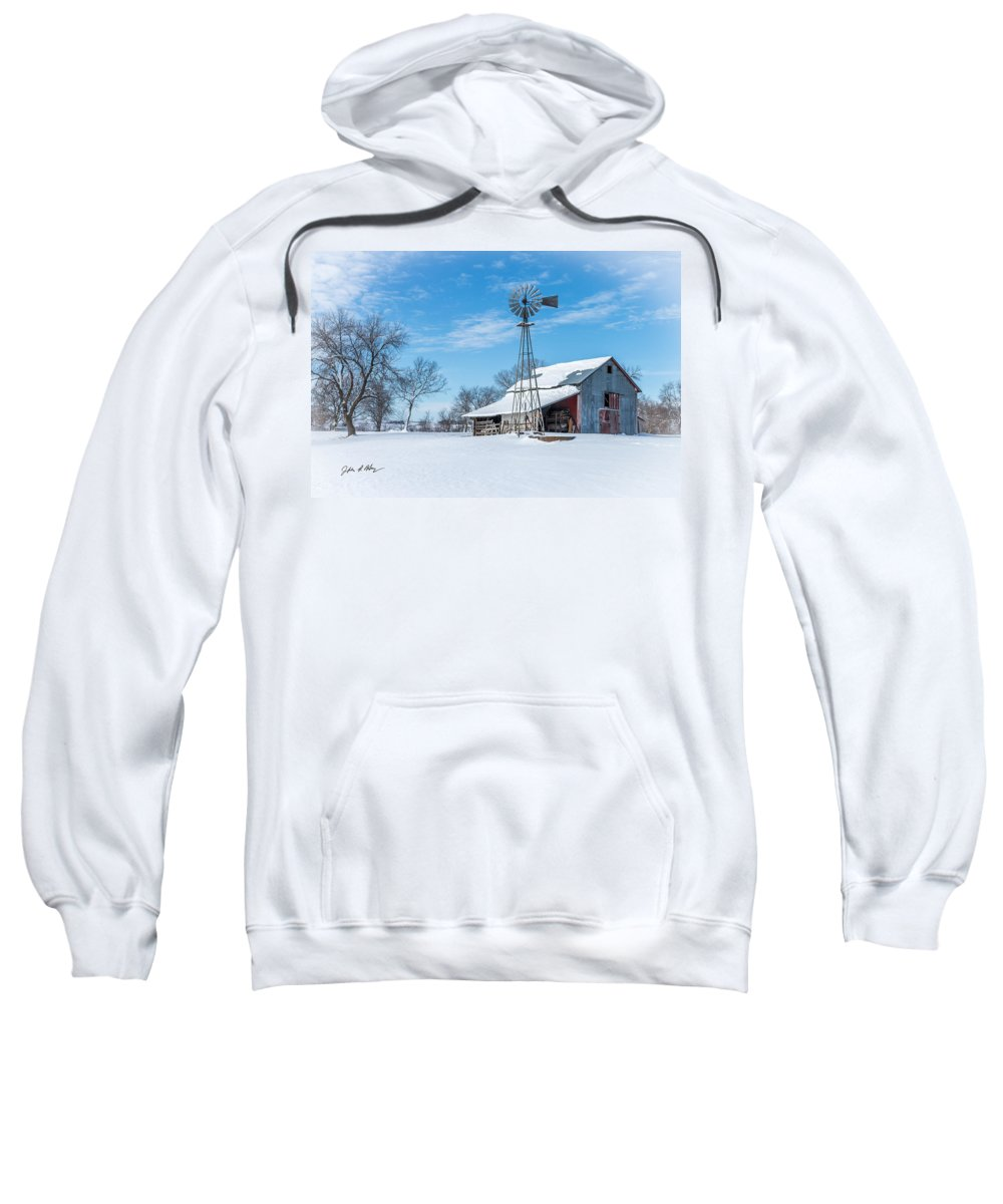 Winter Barn Sweatshirt featuring the photograph Windmill And Old Barn In Fresh Snow by Jeffrey Henry