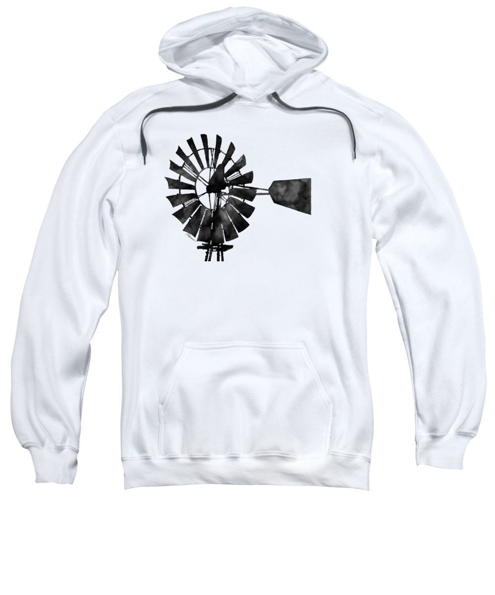 Windmill Sweatshirt featuring the painting Windmill In Black And White by Hailey E Herrera