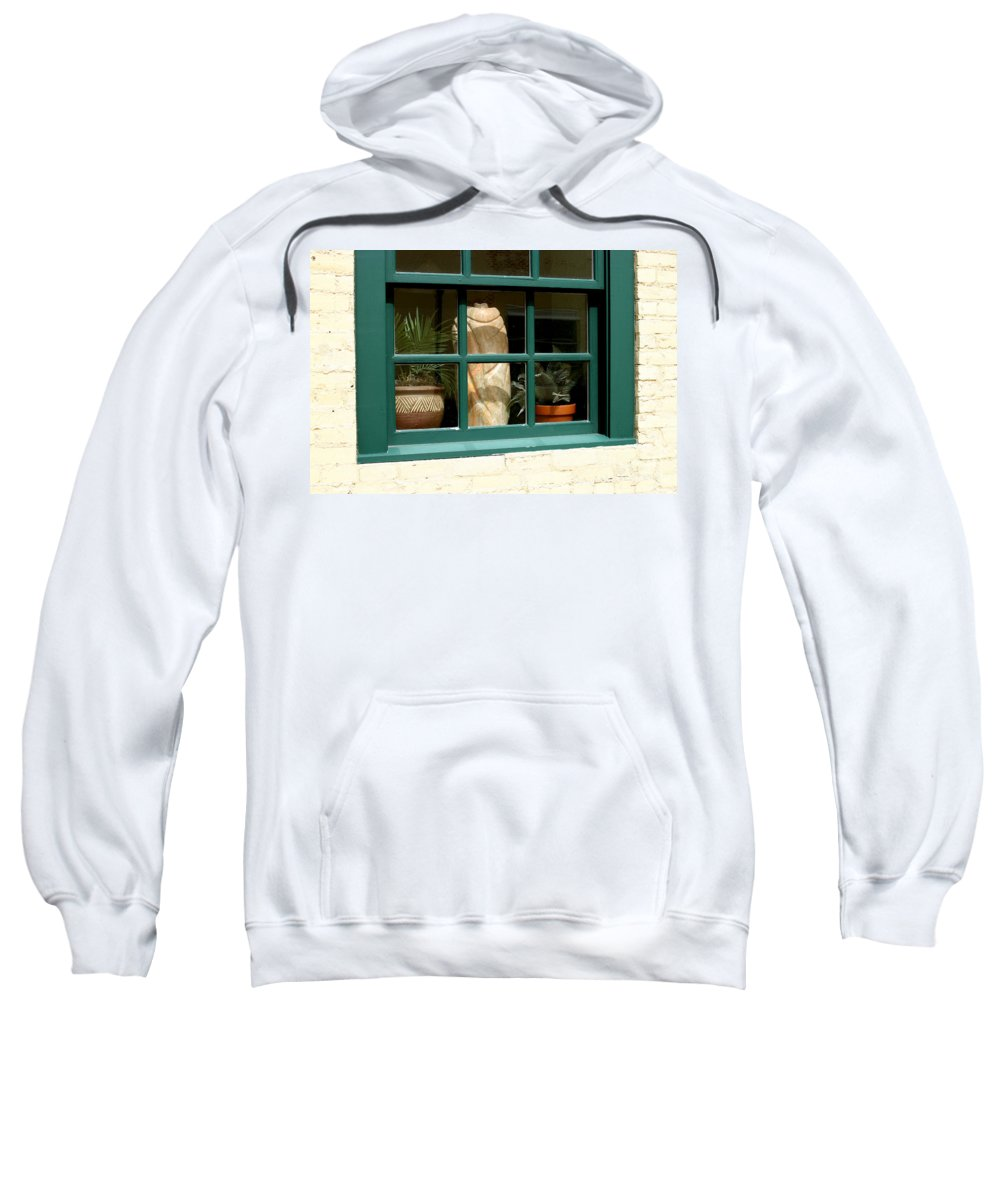 Fern Sweatshirt featuring the photograph Window At Sanders Resturant by Steve Augustin
