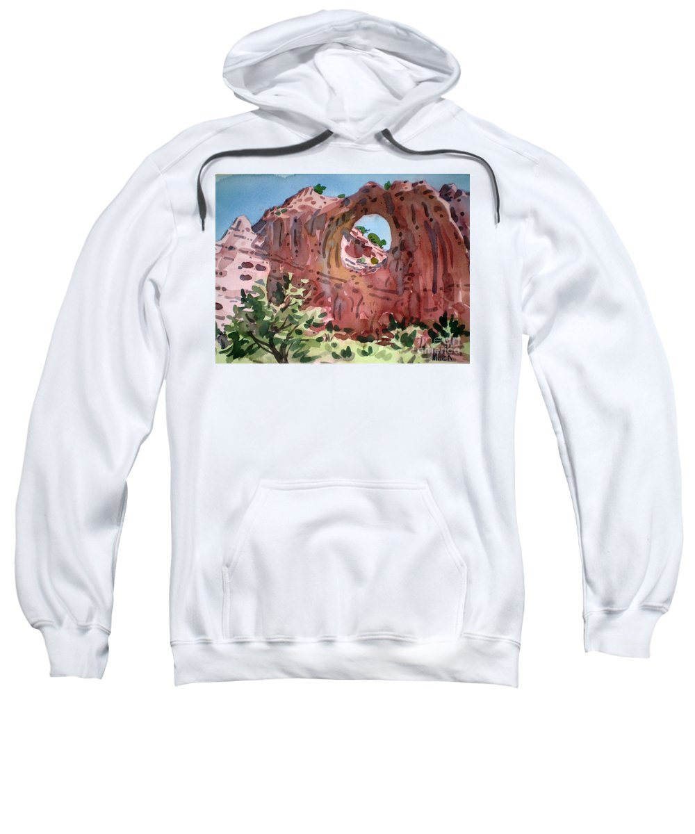 Navajo Tribal Park Sweatshirt featuring the painting Window Rock by Donald Maier