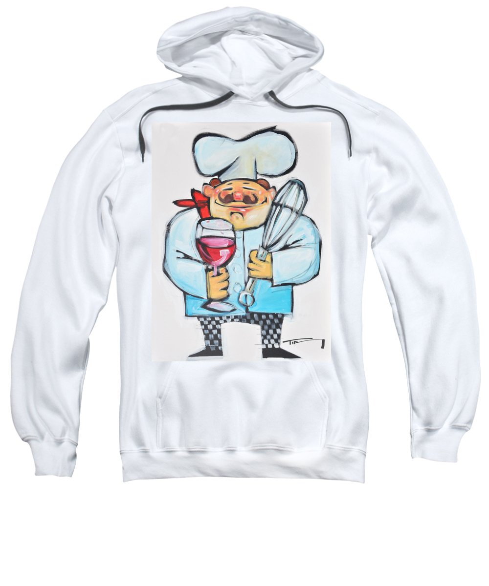 Chef Sweatshirt featuring the painting Wine And Wisk Chef by Tim Nyberg