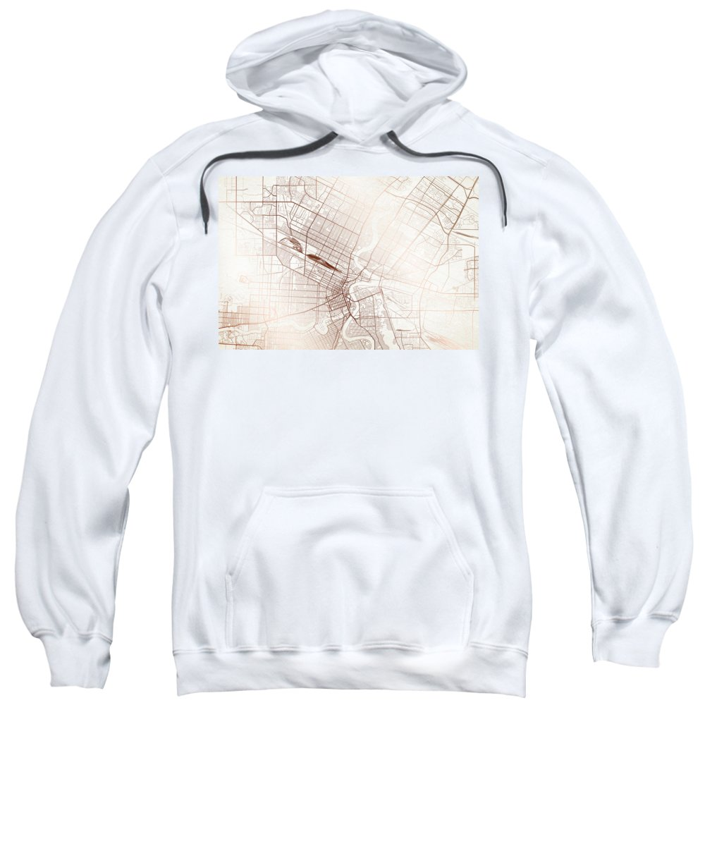 Map Sweatshirt featuring the digital art Winnipeg Street Map Colorful Copper Modern Minimalist by Jurq Studio