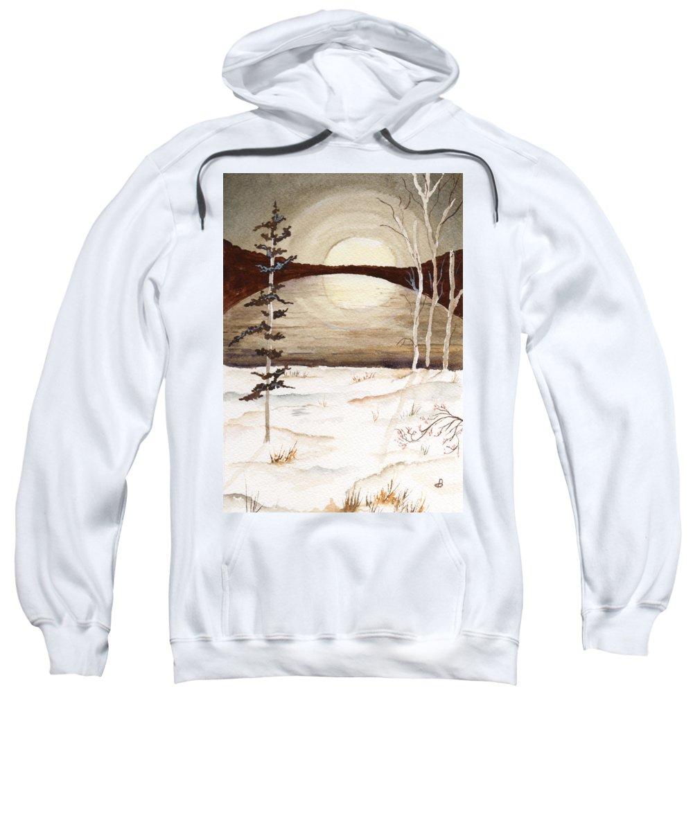 Watercolor Sweatshirt featuring the painting Winter Apex by Brenda Owen