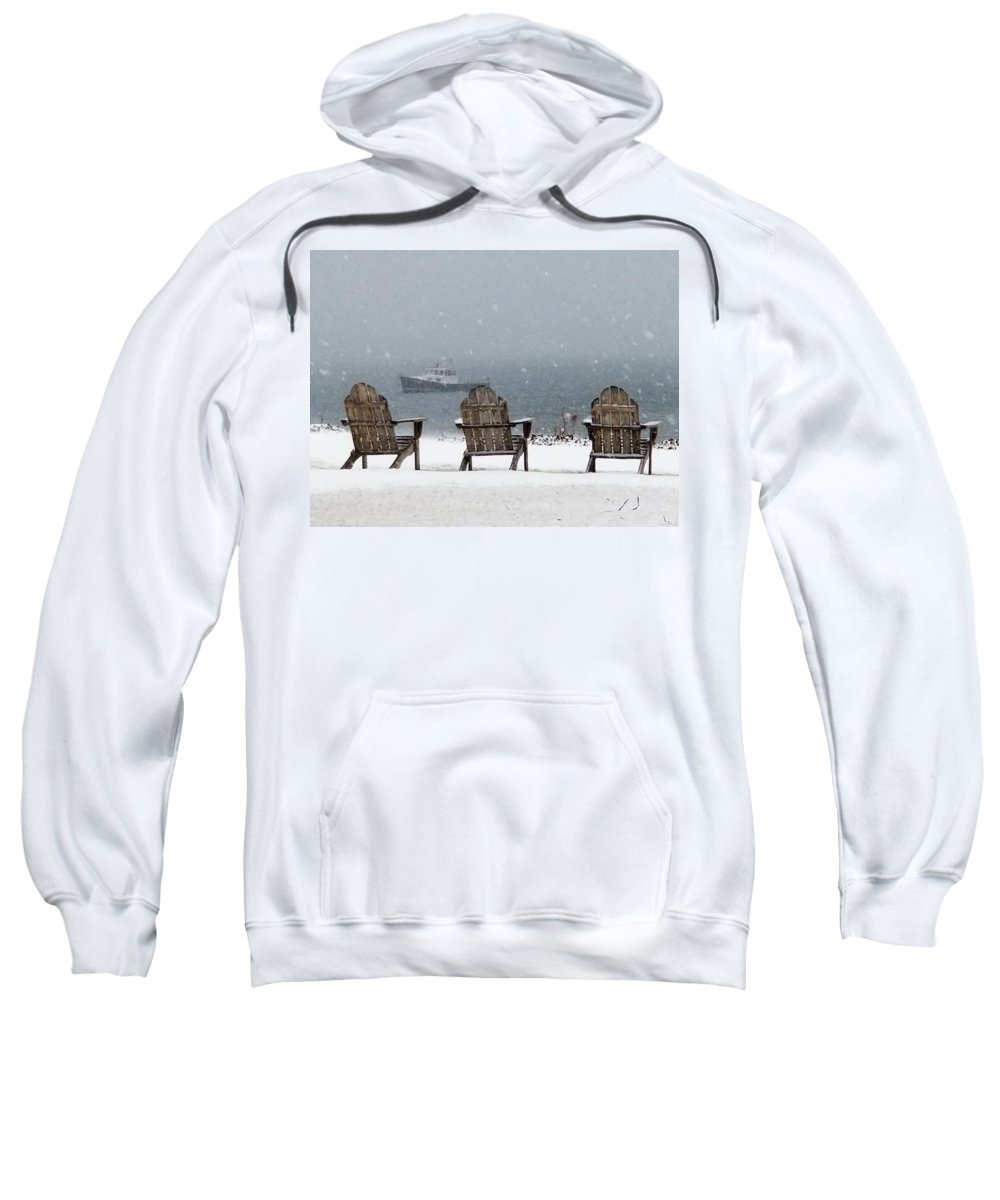 Snow Sweatshirt featuring the photograph Winter By The Sea by John G Erlandson