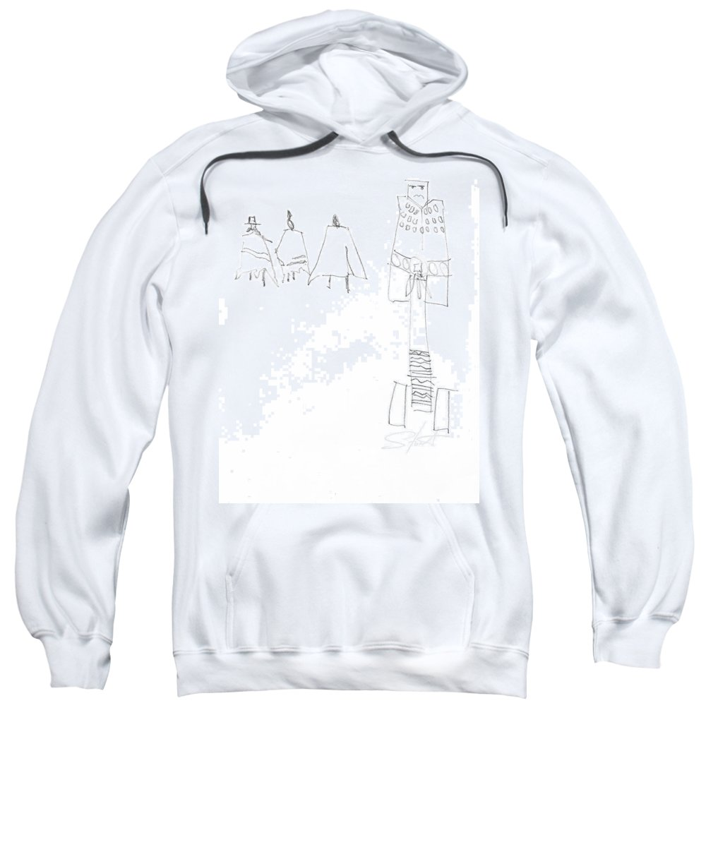 Native Americans Sweatshirt featuring the painting Winter by Charles Stuart