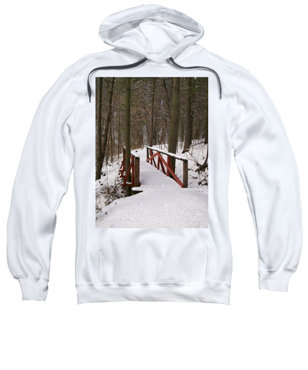 Woods Sweatshirt featuring the photograph Winter Crossing by Sara Raber