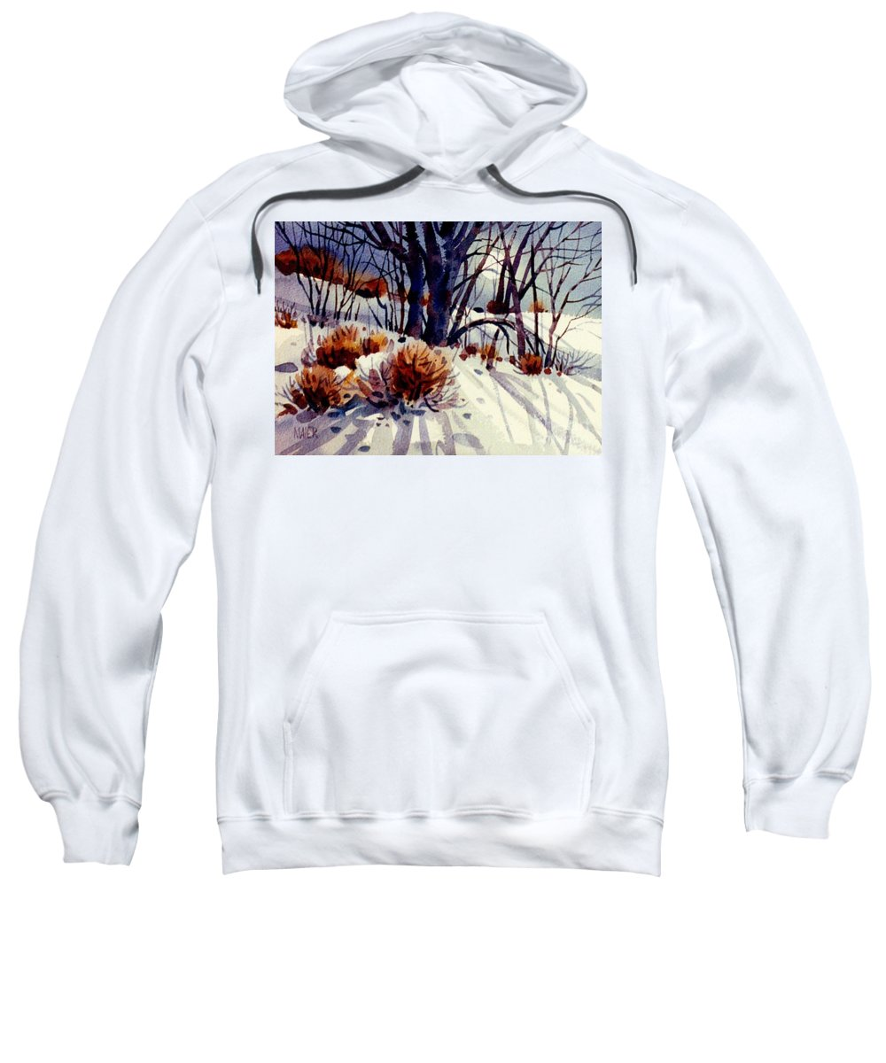 Snow Sweatshirt featuring the painting Winter Drifts by Donald Maier