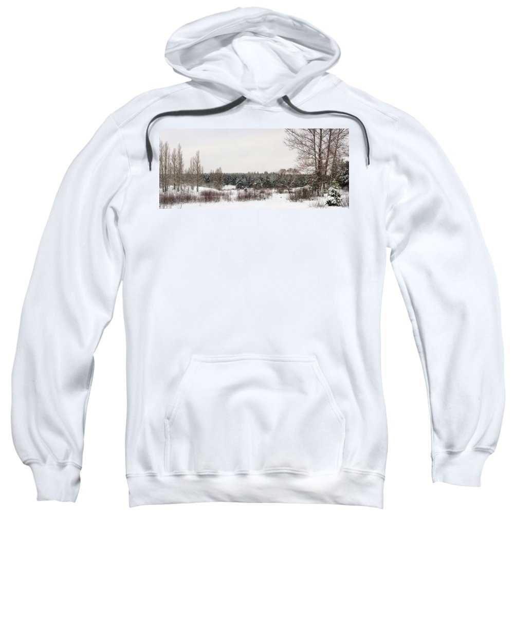 Backgrounds Sweatshirt featuring the photograph Winter Glade Under Snow. by Vadzim Kandratsenkau