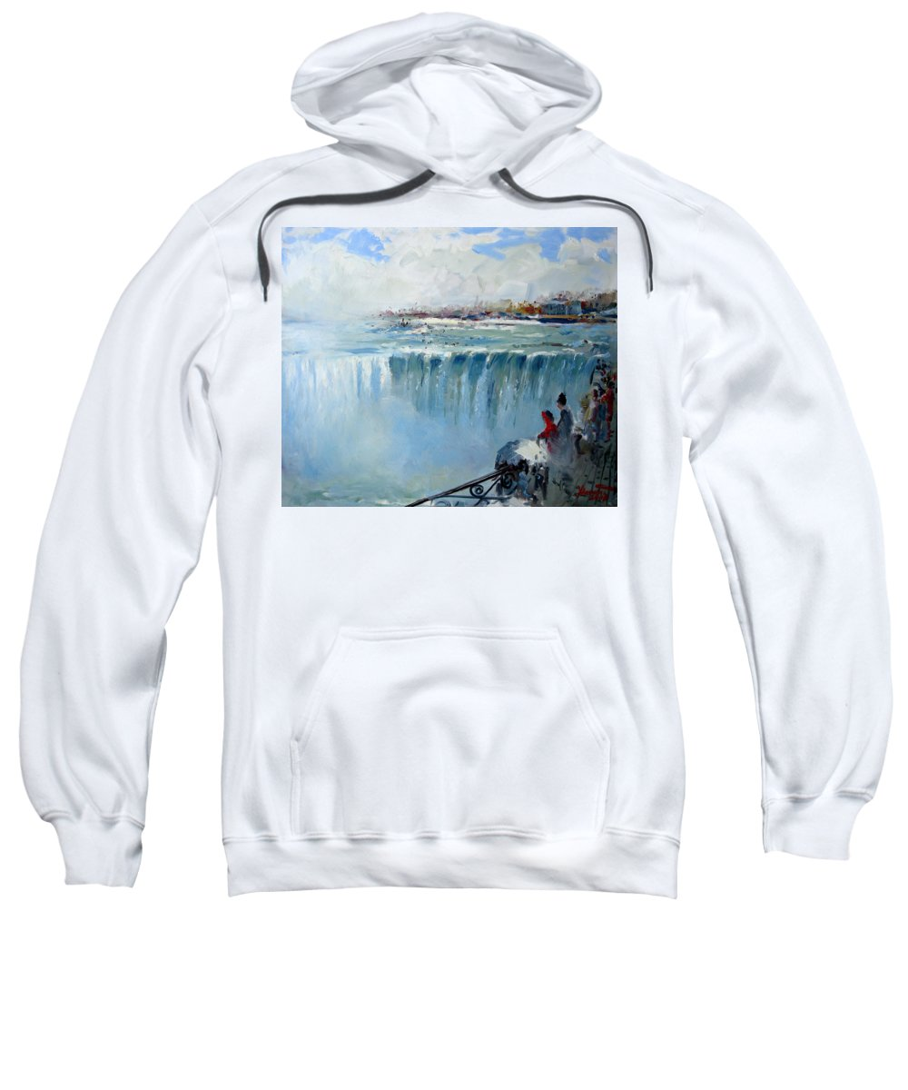 Landscape Sweatshirt featuring the painting Winter In Niagara Falls by Ylli Haruni