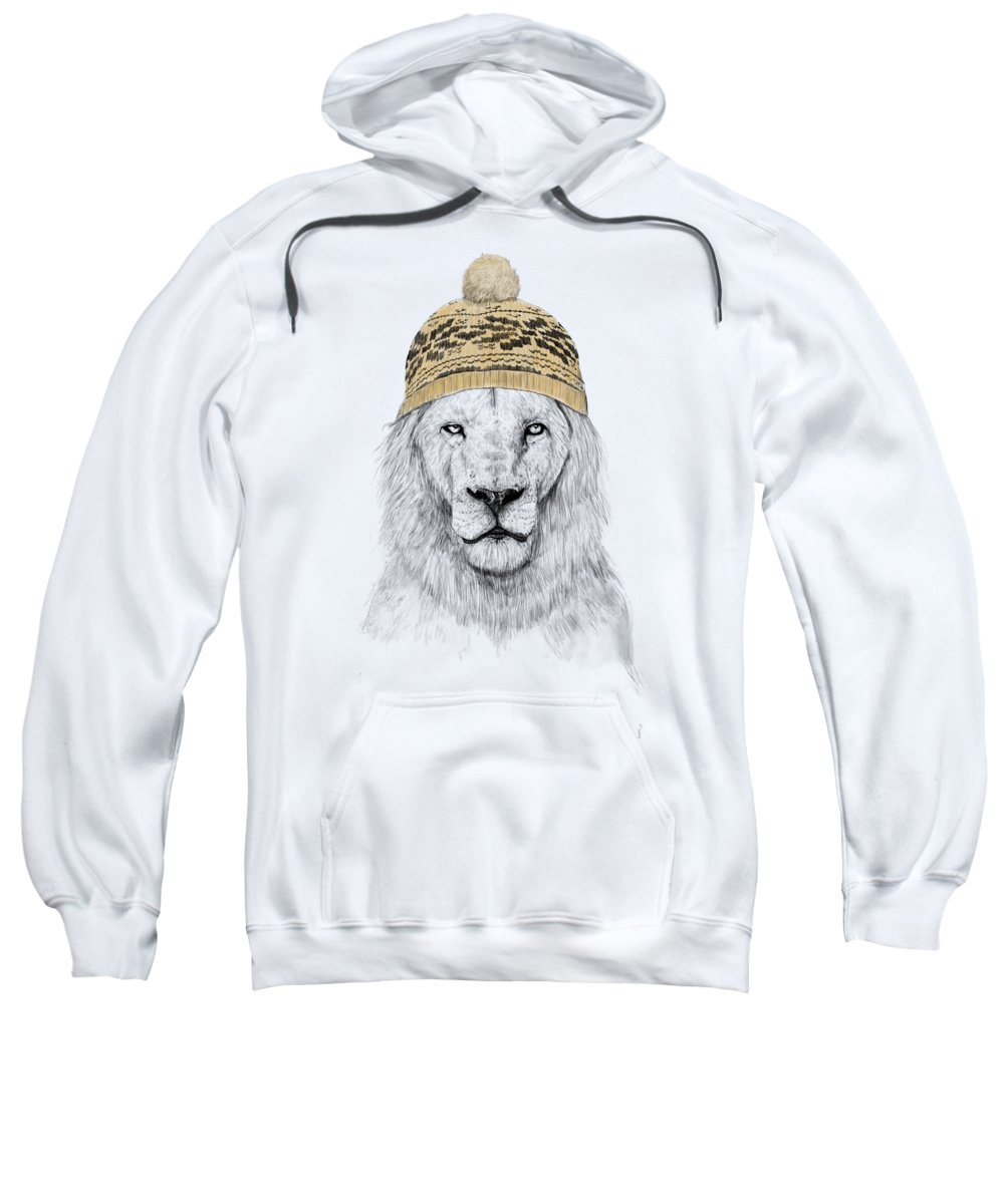 Lion Sweatshirt featuring the mixed media Winter is coming by Balazs Solti