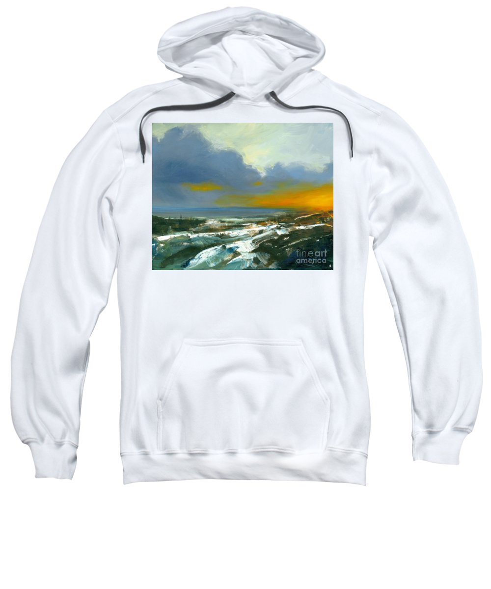 Port Dover Evening Sweatshirt featuring the painting Winter Lake View by Michael Swanson