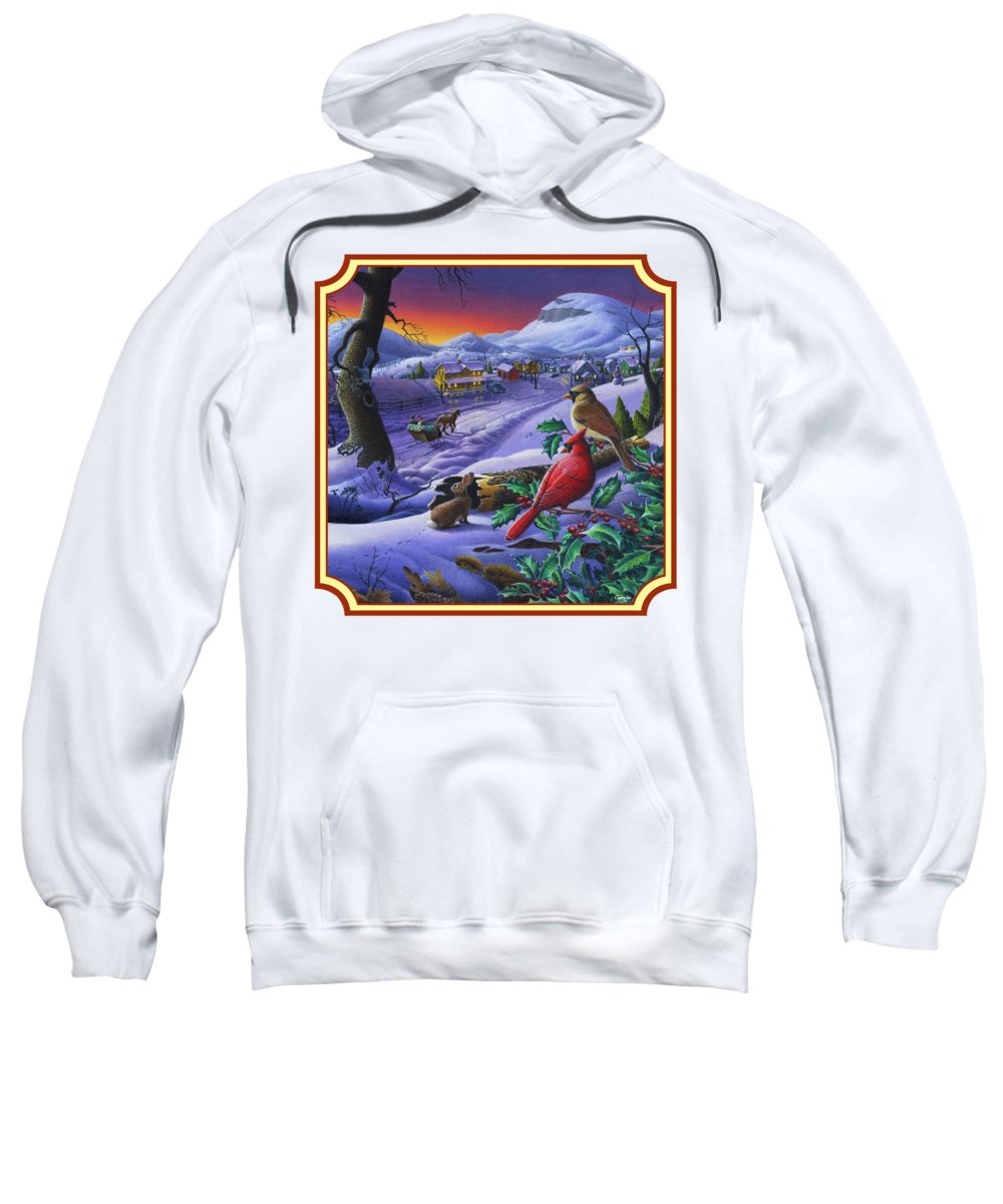 Winter Mountain Landscape Sweatshirt featuring the painting Winter Mountain Landscape - Cardinals On Holly Bush - Small Town - Sleigh Ride - Square Format by Walt Curlee