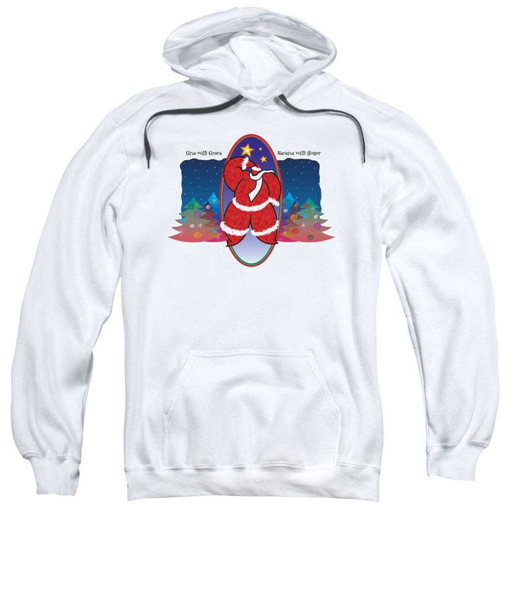 Santa Claus Sweatshirt featuring the painting Winter Night by Steve Ellis