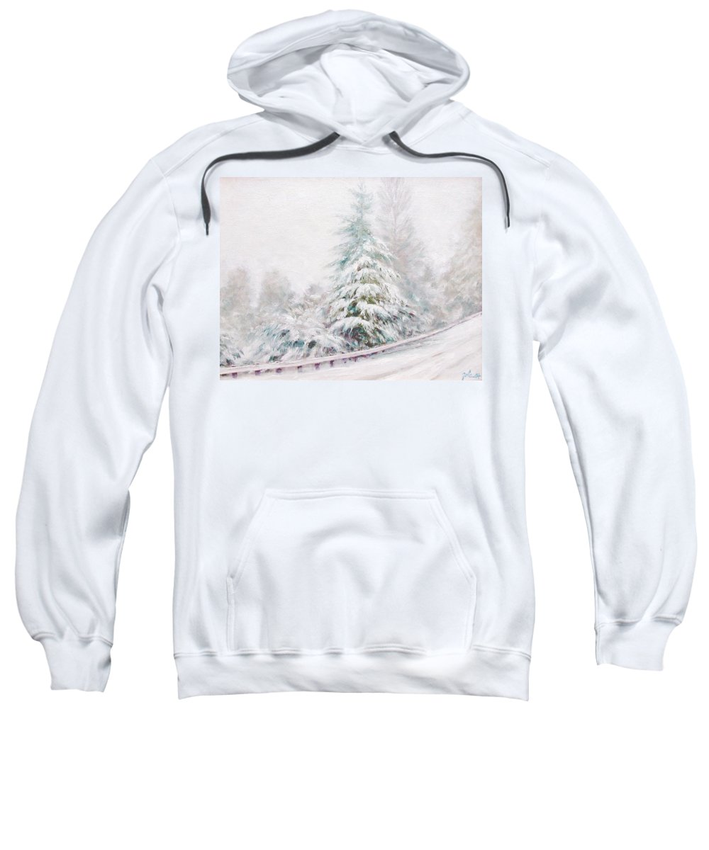 Winter Landscape Sweatshirt featuring the painting Winter of 04 by Jim Gola
