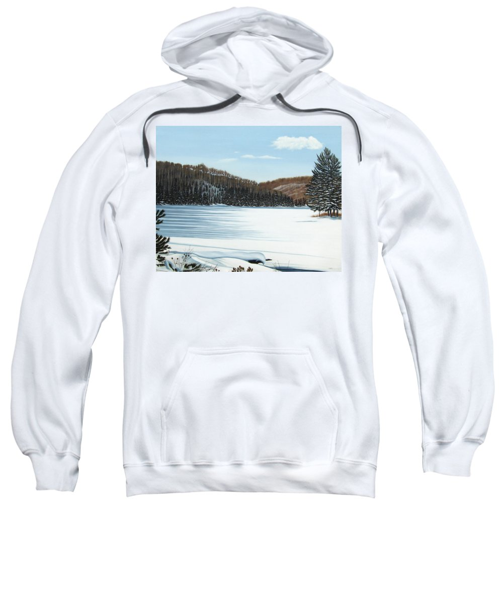 Landscapes Sweatshirt featuring the painting Winter On An Ontario Lake by Kenneth M Kirsch