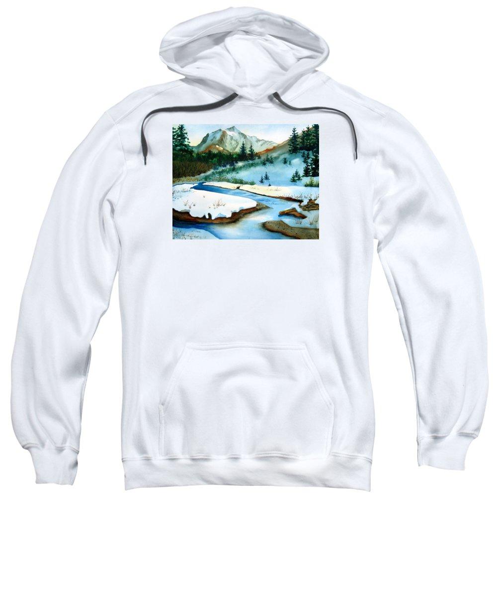 Winter Sweatshirt featuring the painting Winter Retreating by Karen Stark