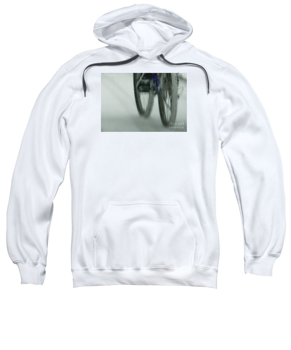 Bicycle Sweatshirt featuring the photograph Winter Ride by Linda Shafer