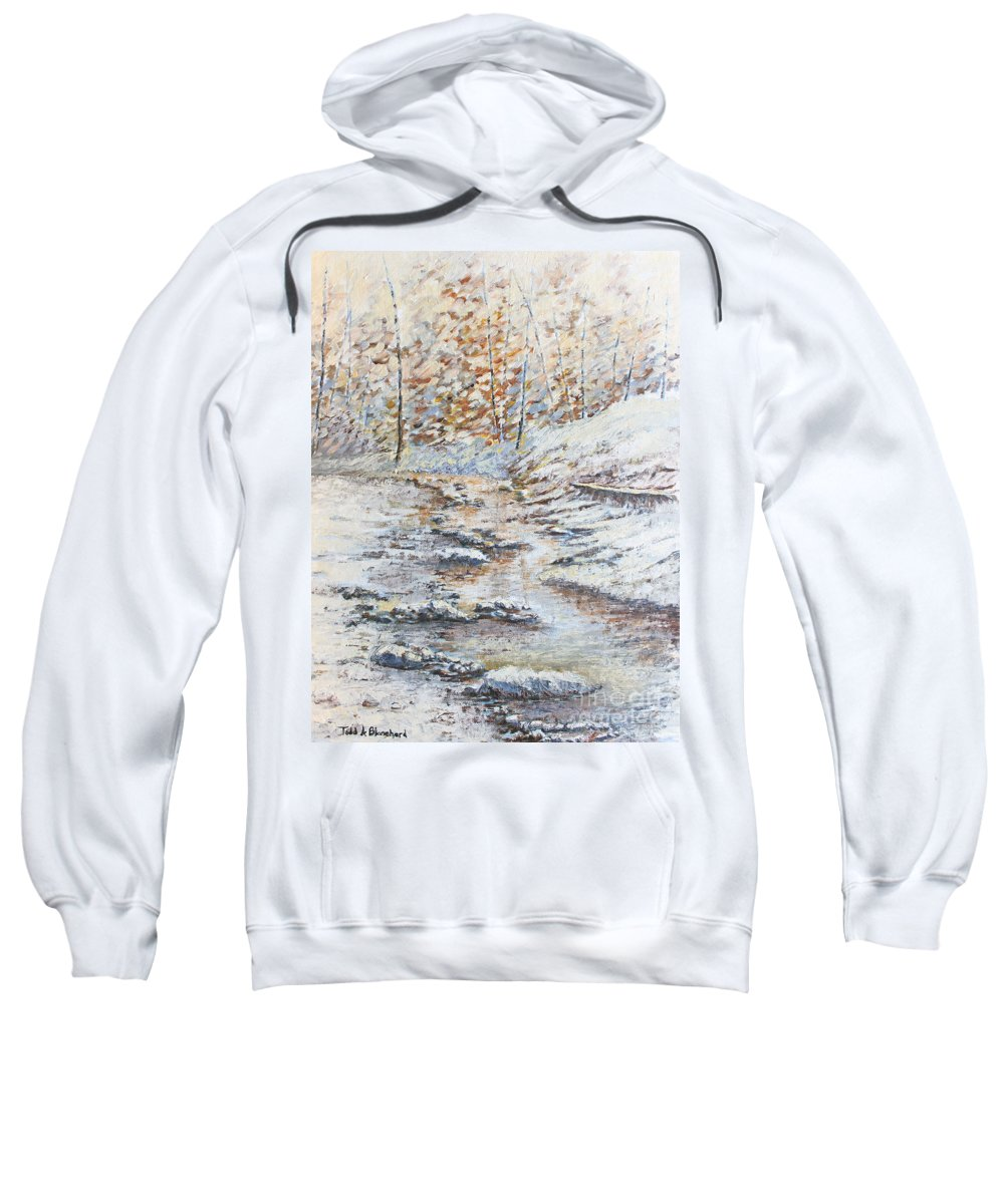 Landscape Sweatshirt featuring the painting Winter River by Todd Blanchard