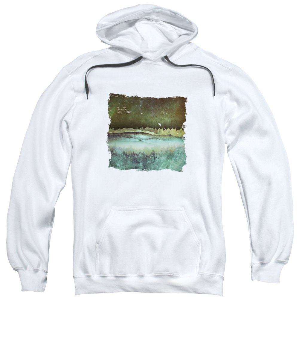 Winter Sky Landscape Abstract Texture Color Forest Mountains Sweatshirt featuring the digital art Winter Sky by Katherine Smit